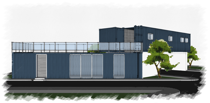 Container home - Frontal facade 02 by saescavipica