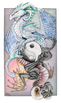 Yin Yang dragon card by Nordeva
