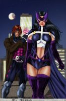 Huntress and Gambit by Sheenaiv