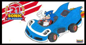 Sonic 21st Anniversary by WingedKnight7