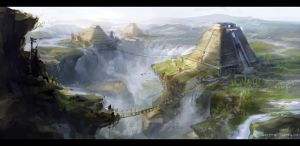 Waterfall city by lychi