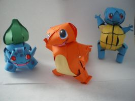 Pokemon Gen 1 Starters Papercraft by melpk