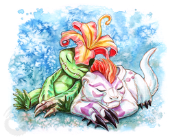 Palmon and Gomamon Watercolour by Simkaye
