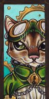 Fancy steampunk cat bookmark by Flos-Abysmi