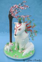 Okami and baby cake by ginas-cakes