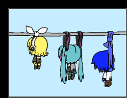 Three crazy vocaloids by Nite3007