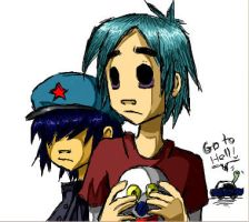 Gorillaz: 2D and Noodle by Zilkenian