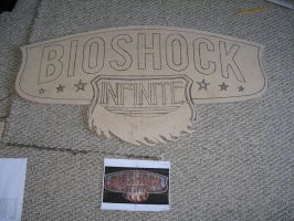 Bioshock Infinite Logo Carving by FloppyTy