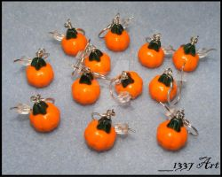 Pumpkin Patch Earrings by 1337-Art