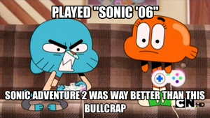Gumball the Angry VG Critic #1: Sonic '06 by thekirbykrisis