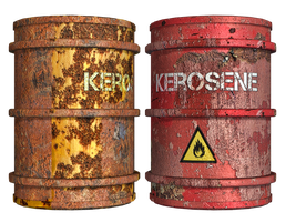 Rusty Oil Drums PNG Stock by Roys-Art
