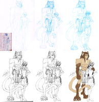 Taiyou and Cerina WiP Progression by ArtSquirrel