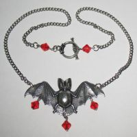 Glass Bead Bat Necklace- Red by Horribell-Originals