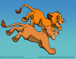 Young Simba and Nala Running by FoxHole09