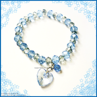 Hand Made Blue Crystals Heart Charm Bracelet by izka-197