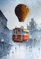 The flying tram over Chorzow by sanderus
