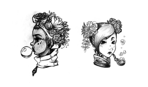 Floral Hair (sketch) by nya-nannu