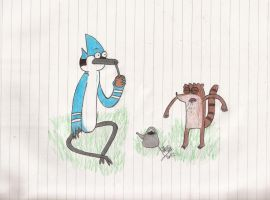 Mordecai and Rigby drinking Mate by abrilmazziotti