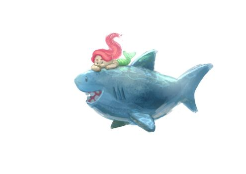 Ariel and Shark by Delun