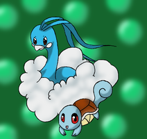 Altaria and Squirtle by Mischief-Moose