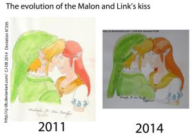 The evolution of the Malon and Link's kiss by CJ-DB