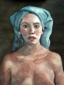 Woman with a blue towel by Blacleria