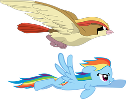 Rainbow Dash And Pidgeot by shirorinku