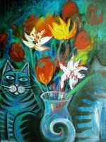 Still life and cats by karincharlotte