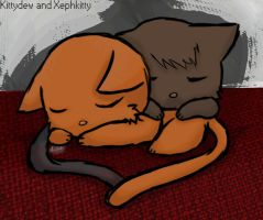Kittydew and xephkitten--naptime by bowtiefox