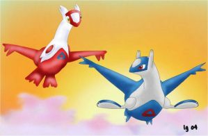Latias and Latios by igtica