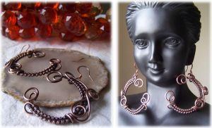 Copper Hoop Earrings by LiquidSilver1