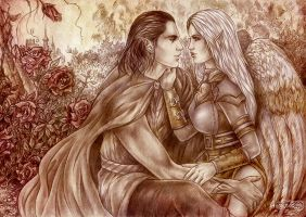 Lyraesel and Lord Selikean Durothil  by Agregor