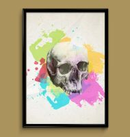 Skull watercolor print poster by ColourInk