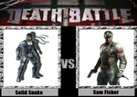 DEATH BATTLE Solid Snake VS Sam Fisher by kingdomofsantiago1