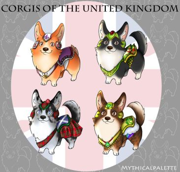 Corgis of the United Kingdom by Mythicalpalette