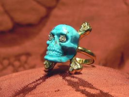 Turquoise Skull Ring by Dogale