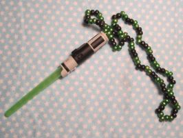Star Wars Green Lightsaber Kandi Necklace by colbyjackchz
