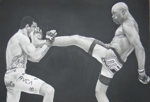 Anderson Silva Charcoal Drawing by kyllerkyle