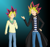 AT: Yami and Yugi Clothes Swap by LizzieDoll