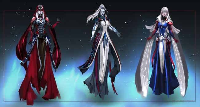Commission: Priestesses - concept sketches by Lea1301