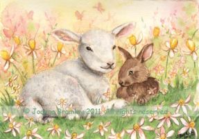 ACEO Lamb and Bunny by JoannaBromley