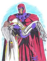 Magneto and Storm COLORS by MichaelPowellArt