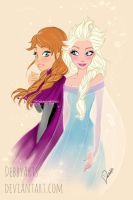 Anna and Elsa - FROZEN fanart - by DebbyArts by DebbyArts