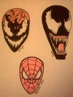 Carnage,Venom and Spiderman by RhythmOfTheNight