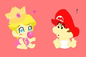 Baby Peach and Baby Mario by Madam-Milano