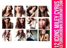 12 icons Miley Cyrus by LetsBreakDown