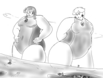 Daisy and Peach Enormaidens over horizon by Feyzer