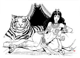 The Woman and Tiger by shonemitsu