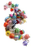 Stripey Bead Charm Bracelet by fairy-cakes