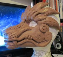 WIP Dragon Mask by Coeurlregina